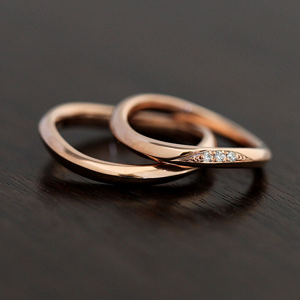 【SALE★30%以上OFF!】 【ポイント優待】 結婚指輪 ペアリング K10PG ダイヤモンド 0.03ct マリッジリング ピンクゴールド サンキュークーポン