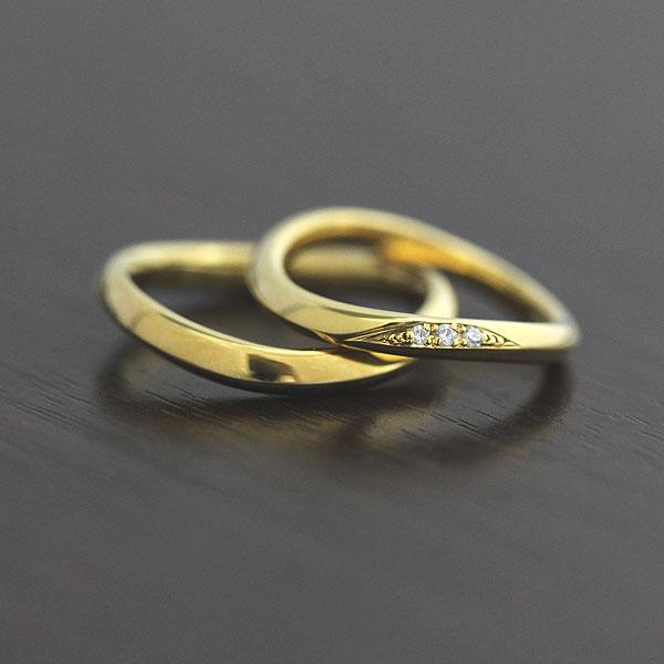 結婚指輪 K10YG ダイヤモンド 0.03ct マリッジリング イエローゴールド ペアリング