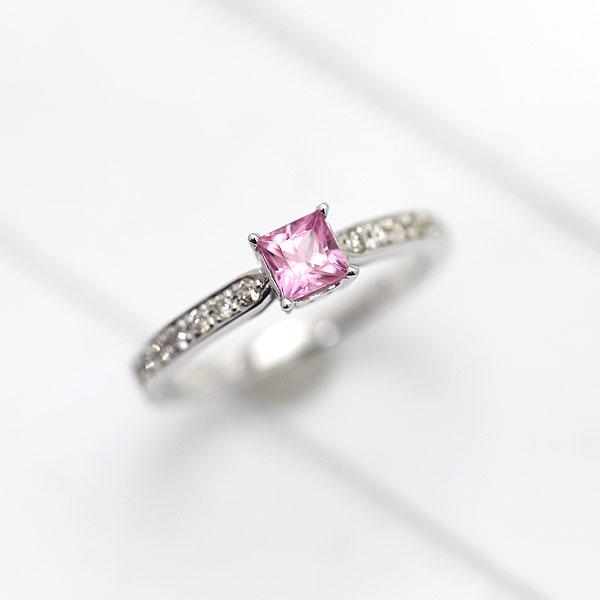 指輪 レディースK10WG プリンセスカット ピンクサファイア ダイヤモンド リング
