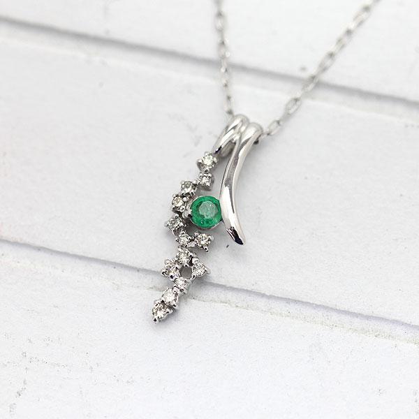 ネックレス ペンダント レディース K10WG エメラルド ダイヤモンド