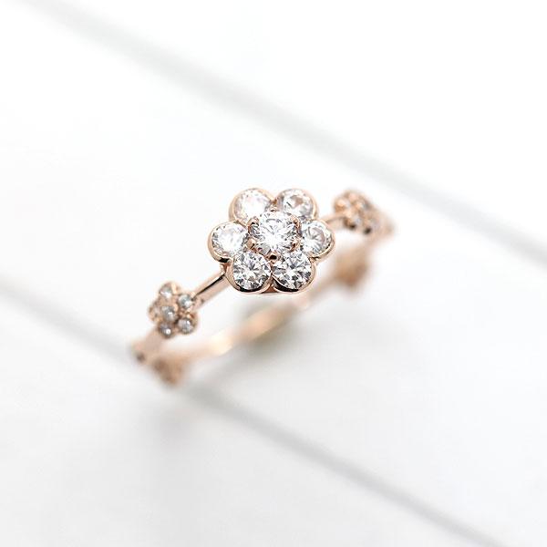 指輪 女性用 K18PG ダイヤモンド フラワーリング 0.52ct 花モチーフ 天然ダイヤモンド ピンクゴールド リング レディースリング