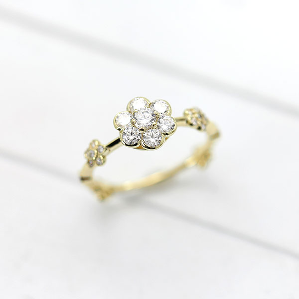 【SALE】 【ポイント優待】 指輪 女性用 K18YG ダイヤモンド フラワーリング 0.52ct 花モチーフ 天然ダイヤモンド イエローゴールド リング レディースリング