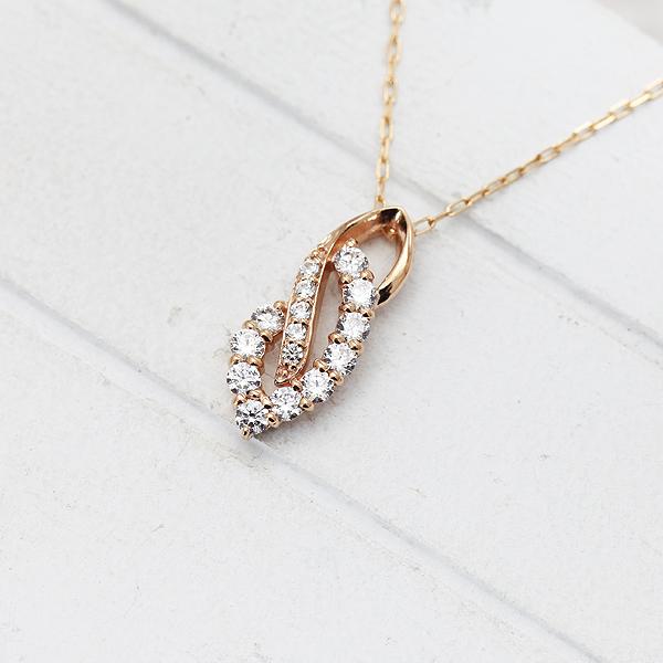 ネックレス ペンダント レディース K10PG ダイヤモンド 0.38ct ピンクゴールド 4月 誕生石 バースデー