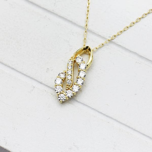ネックレス ペンダント レディース K18YG ダイヤモンド 0.38ct イエローゴールド 4月 誕生石 バースデー