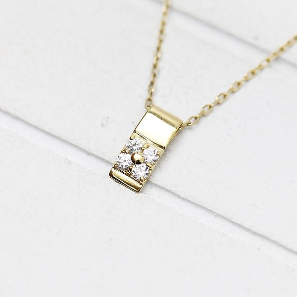 ネックレス ペンダント レディース K18YG ダイヤモンド 0.13ct イエローゴールド 4月 誕生石 バースデー