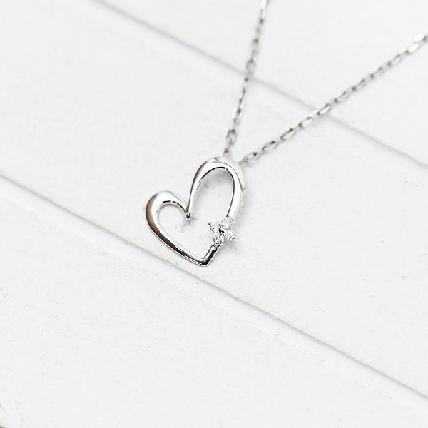 ネックレス ペンダント レディース K18WG ダイヤモンド 0.02ct ホワイトゴールド 誕生石 バースデー ハートモチーフ クリスマス ギフト プレゼント 彼女