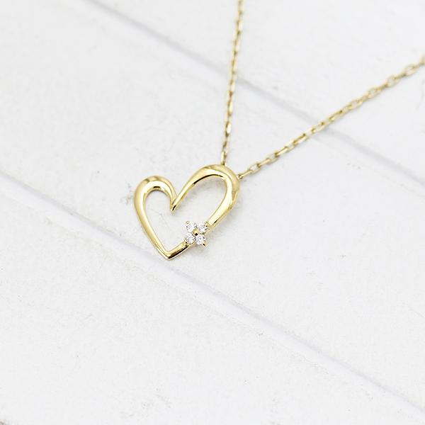 ネックレス ペンダント レディース K18YG ダイヤモンド 0.02ct イエローゴールド 誕生石 バースデー ハートモチーフ クリスマス ギフト プレゼント 彼女