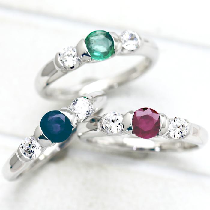 指輪 女性用 PT100(Pt10%) カラーストーン ダイヤモンド 0.24ct プラチナ リング レディースリング