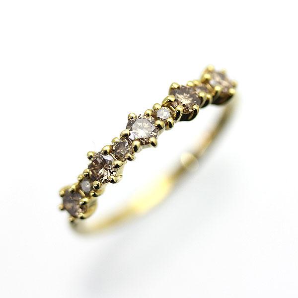 指輪 女性用 K18YG ブラウンダイヤモンド 0.50ct イエローゴールド ハーフエタニティ レディースリング サンキュークーポン 開業祝 就職祝お花見 クリスマス会