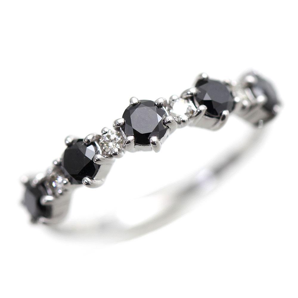 指輪 女性用 K10WG 天然ブラックダイヤモンド 0.55ct 天然ダイヤモンド ホワイトゴールド ハーフエタニティ レディースリング