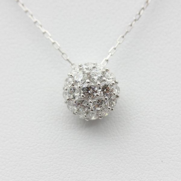 ネックレス ペンダント レディース K18WG ダイヤモンド(1.0Ct) パヴェ