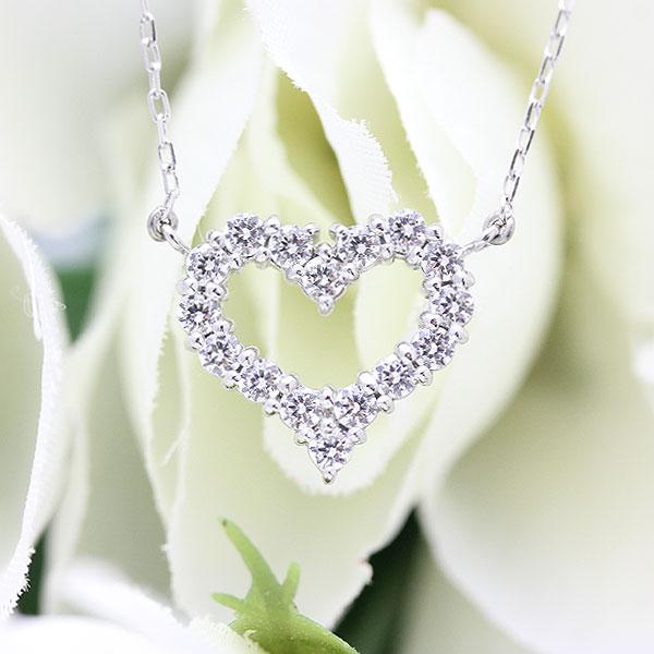 ネックレス ペンダント レディース K18WG ダイヤモンド(0.65Ct) ハート レディース クリスマス ギフト プレゼント 彼女