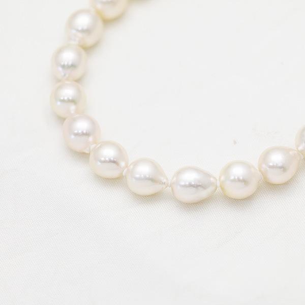 パール ブレスレット あこや真珠 ホワイト 7.5mm~8mm セミラウンド セミバロック 一点物