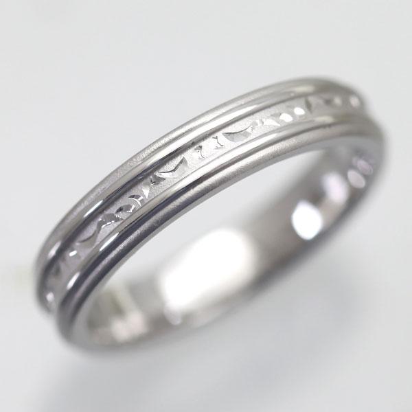 結婚指輪 プラチナ PT100(Pt10%) 手彫り彫刻リング マリッジリング メンズリング