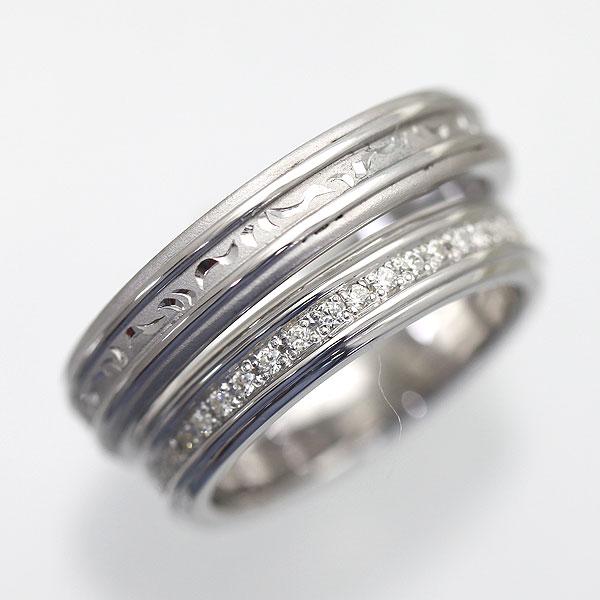 【SALE★30%以上OFF!】 【ポイント優待】 結婚指輪 ペアリング K10WG ダイヤモンド フルエタニティリング 手彫り彫刻 サンキュークーポン