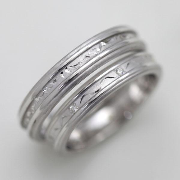 結婚指輪 ペアリング プラチナ PT900(Pt90%) ダイヤモンド 手彫り彫刻リング サンキュークーポン