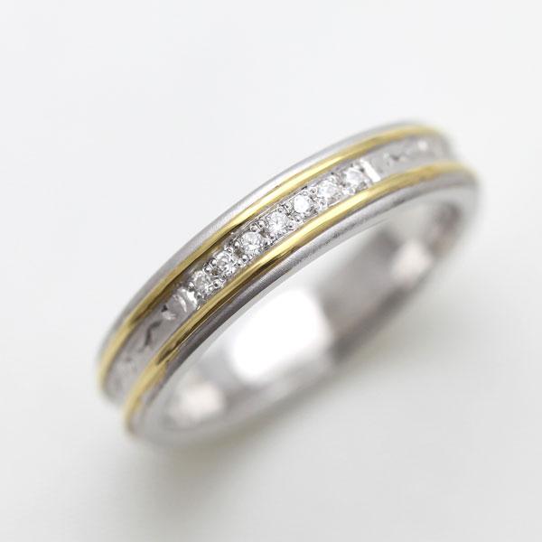 結婚指輪 リング プラチナ PT900(Pt90%)/ K18YG ダイヤモンド 手彫り彫刻リング コンビリング レディースリング サンキュークーポン
