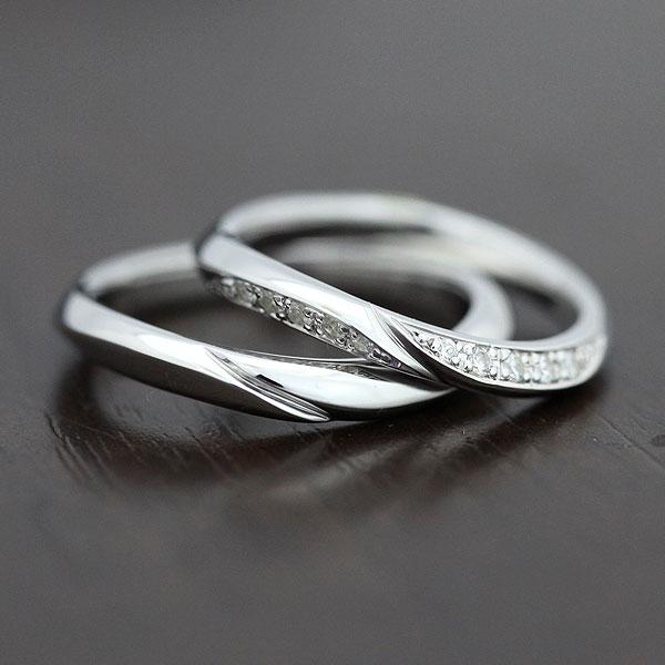 【SALE★30%以上OFF!】 【ポイント優待】 結婚指輪 ペアリング K18WG シンプルラインリング ダイヤモンド 0.10ct マリッジリング サンキュークーポン