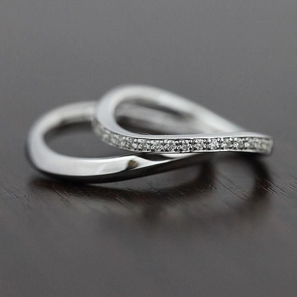 結婚指輪 ペアリング K18WG ダイヤモンド 0.18ct ホワイトゴールド マリッジリング ハーフエタニティ サンキュークーポン