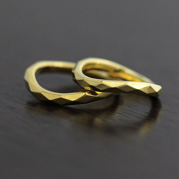 【SALE★30%以上OFF!】 【ポイント優待】 結婚指輪 ペアリング K18YG マリッジリング イエローゴールド ミラーカット サンキュークーポン