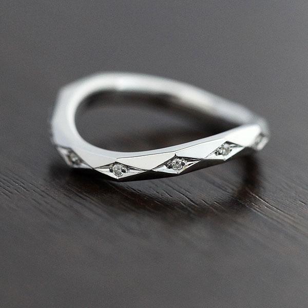 【SALE★30%以上OFF!】 【ポイント優待】 結婚指輪 K18WG ミラーカット ダイヤモンド 0.04ct ホワイトゴールド レディースリング サンキュークーポン