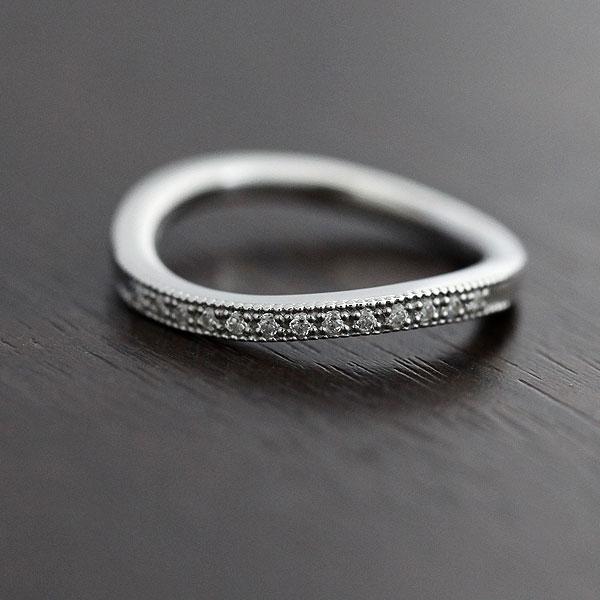 結婚指輪 リング プラチナ PT100(Pt10%) ハーフエタニティ S字 ミル打ちリング ダイヤモンド 0.08ct マリッジリング レディースリング