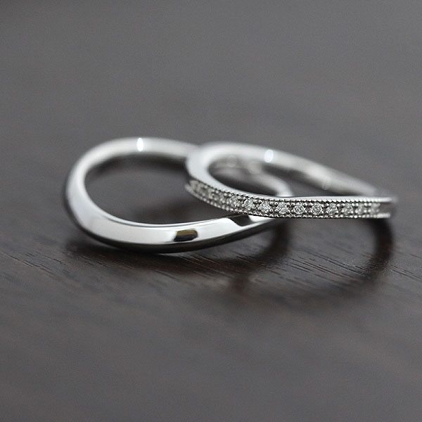 結婚指輪 ペアリング K10WG ハーフエタニティ S字 ミル打ちリング ダイヤモンド 0.08ct ホワイトゴールド マリッジリング サンキュークーポン
