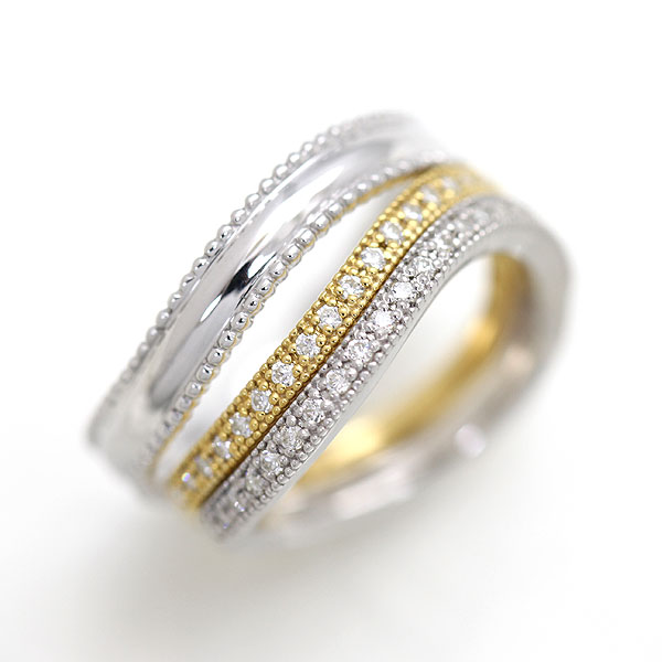 結婚指輪 ペアリング プラチナ PT900(Pt90%)/ K18YG ハーフエタニティ S字 ミル打ちリング ダイヤモンド 0.22ct マリッジリング コンビペアリング サンキュークーポン