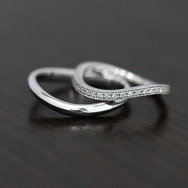 結婚指輪 ペアリング K10WG ハーフエタニティ S字 ミル打ちリング ダイヤモンド 0.11ct ホワイトゴールド マリッジリング サンキュークーポン