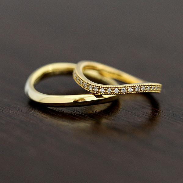 結婚指輪 ペアリング K18YG ハーフエタニティ S字 ミル打ちリング ダイヤモンド 0.11ct イエローゴールド マリッジリング サンキュークーポン