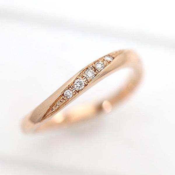 結婚指輪 K18PG ダイヤモンド 0.05ct ラインリング ピンクゴールド レディースリング マリッジリング ギフト プレゼント 彼女 サンキュークーポン