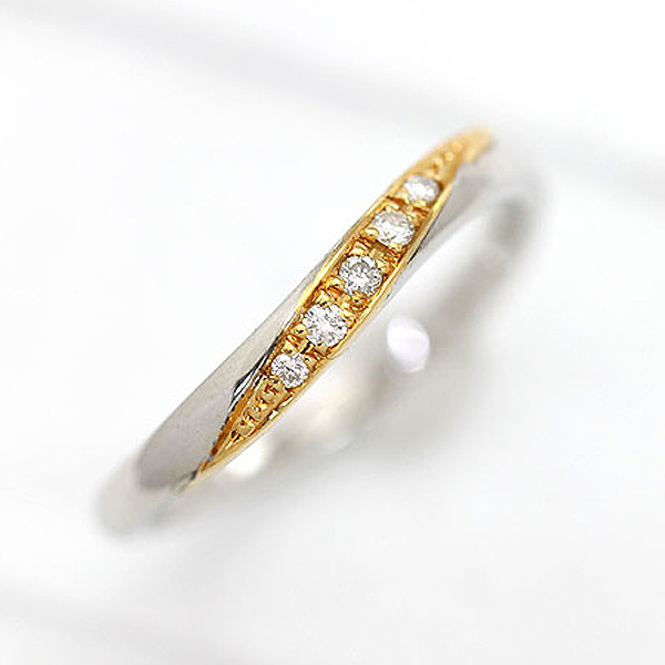 結婚指輪 リング プラチナ PT100(Pt10%)/K18YG ダイヤモンド 0.05ct ライン コンビリング プラチナ イエローゴールド レディースリング マリッジリング ギフト プレゼント 彼女 サンキュークーポン