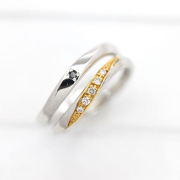 結婚指輪 ペアリング プラチナ PT100(Pt10%)/K18YG ダイヤモンド 0.05ct ブラックダイヤ 0.01ct プラチナ イエローゴールド マリッジリング ギフト プレゼント 彼女 サンキュークーポン