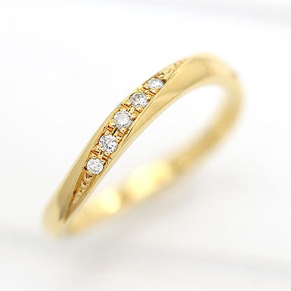 結婚指輪 K18YG ダイヤモンド 0.05ct ラインリング イエローゴールド レディースリング マリッジリング ギフト プレゼント 彼女 サンキュークーポン