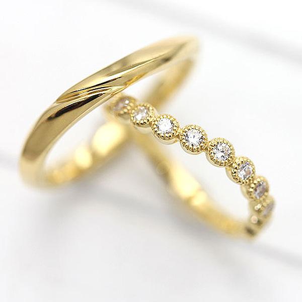 結婚指輪 K18YG ハーフエタニティ S字 ミル打ちリング ダイヤモンド 0.26ct イエローゴールド マリッジリング ペアリング