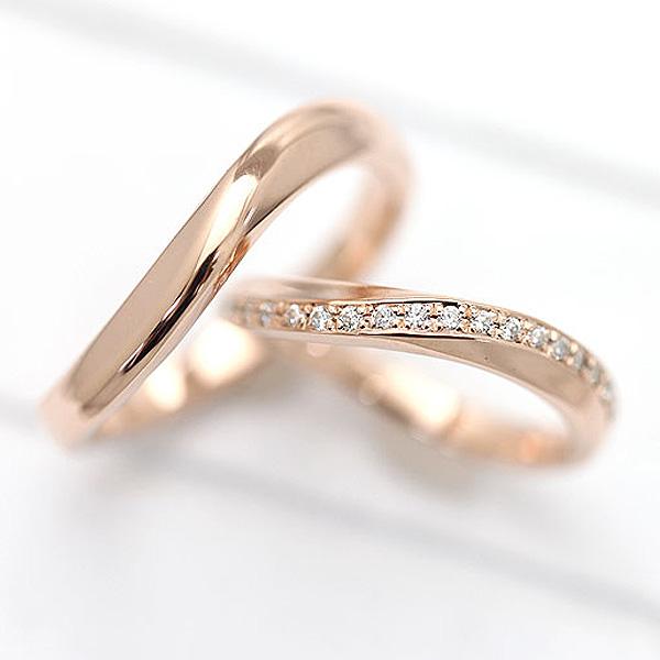 【SALE★30%以上OFF!】 【ポイント優待】 結婚指輪 ペアリング K18PG S字 ラインリング ダイヤモンド 0.10ct ピンクゴールド マリッジリング サンキュークーポン