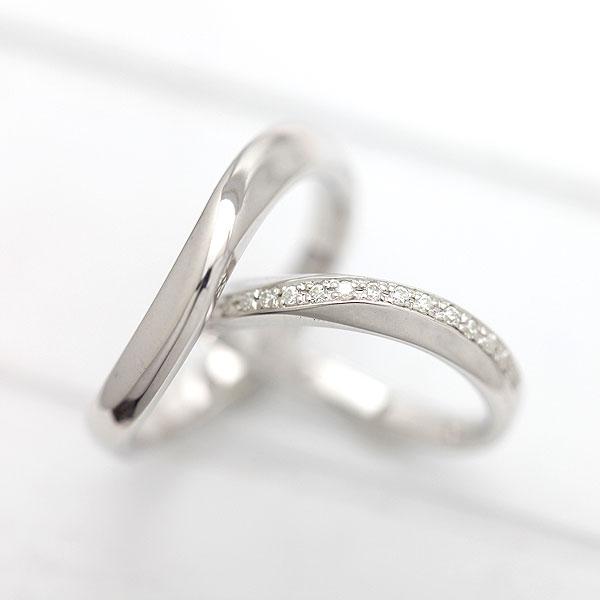 結婚指輪 ペアリング K10WG S字 ラインリング ダイヤモンド 0.10ct ホワイトゴールド マリッジリング サンキュークーポン