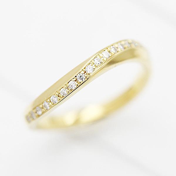 結婚指輪 K18YG S字 ラインリング ダイヤモンド 0.10ct イエローゴールド マリッジリング レディースリング ギフト プレゼント 彼女 サンキュークーポン