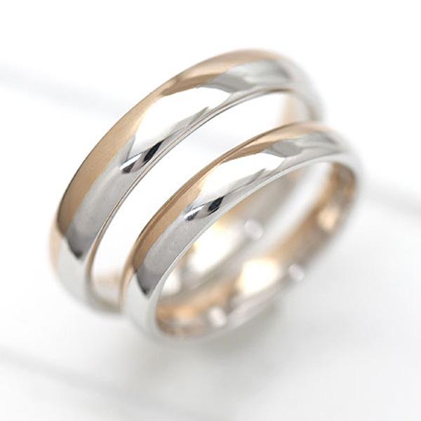 結婚指輪 ペアリング プラチナ PT100(Pt10%)/K18PG ピンクゴールド マリッジリング コンビ 甲丸リング サンキュークーポン