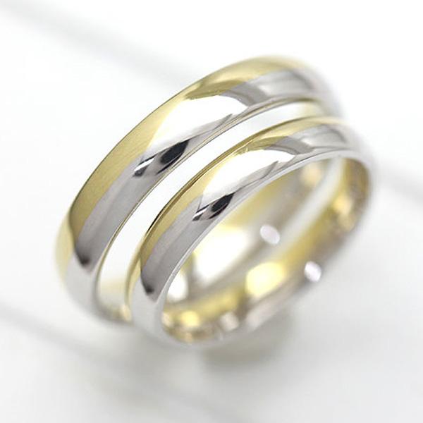 結婚指輪 ペアリング プラチナ PT100(Pt10%)/K18YG イエローゴールド マリッジリング コンビ 甲丸リング サンキュークーポン