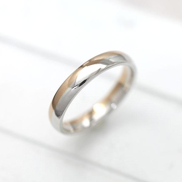 結婚指輪 プラチナ PT100(Pt90%)/K18PG ピンクゴールド マリッジリング コンビ 甲丸リング メンズリング サンキュークーポン