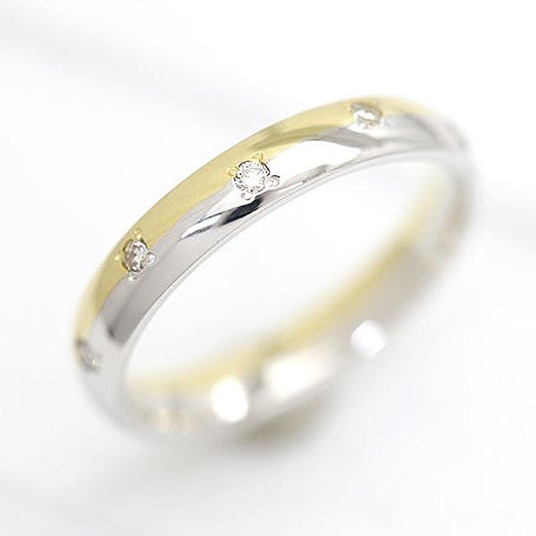 結婚指輪 リング プラチナ PT100(Pt10%)/K18YG ダイヤモンド 0.07ct イエローゴールド マリッジリング コンビ 甲丸リング レディースリング サンキュークーポン