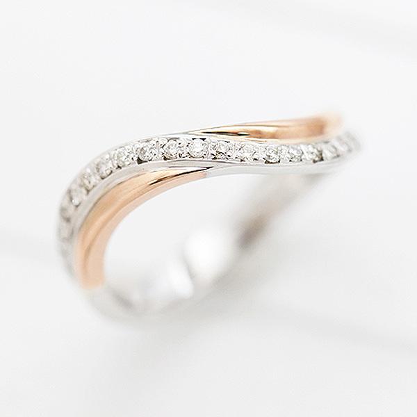 結婚指輪 プラチナ PT900(Pt90%)/K18PG ダイヤモンド 0.10ct ピンクゴールド マリッジリング コンビリング レディースリング