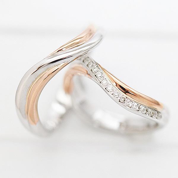 結婚指輪 ペアリング プラチナ PT900(Pt90%)/K18PG ダイヤモンド 0.10ct ピンクゴールド マリッジリング コンビリング サンキュークーポン