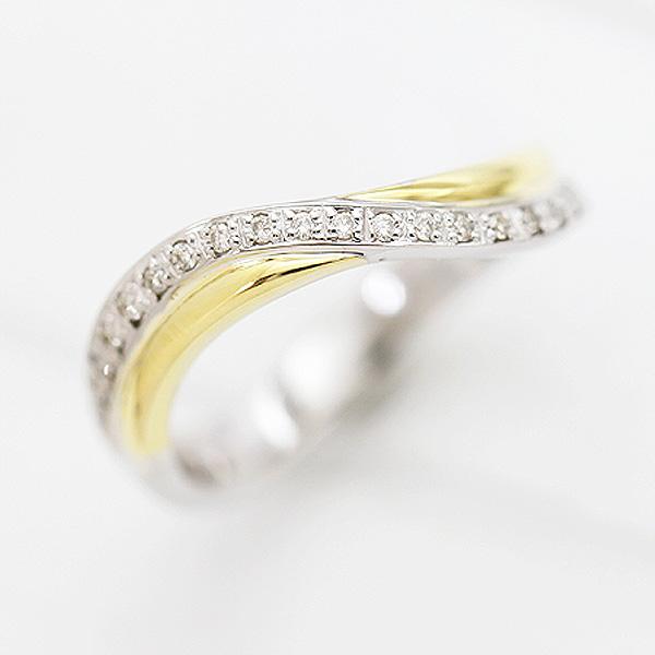結婚指輪 プラチナ PT900(Pt90%)/K18YG ダイヤモンド 0.10ct イエローゴールド マリッジリング コンビリング レディースリング