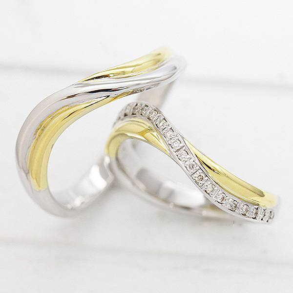結婚指輪 ペアリング プラチナ PT900(Pt90%)/K18YG ダイヤモンド 0.10ct イエローゴールド マリッジリング コンビリング サンキュークーポン