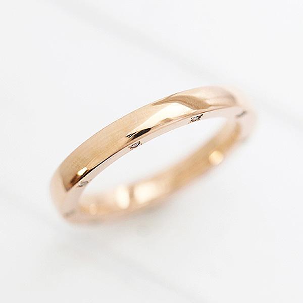 結婚指輪 K10PG ダイヤモンド 0.10ct ピンクゴールド マリッジリング レディースリング サンキュークーポン