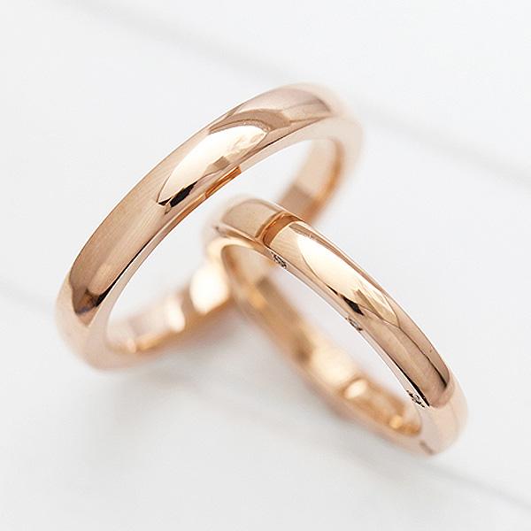 【SALE★30%以上OFF!】 【ポイント優待】 結婚指輪 ペアリング K10PG 甲丸リング シンプル ダイヤモンド 0.10ct ピンクゴールド マリッジリング サンキュークーポン