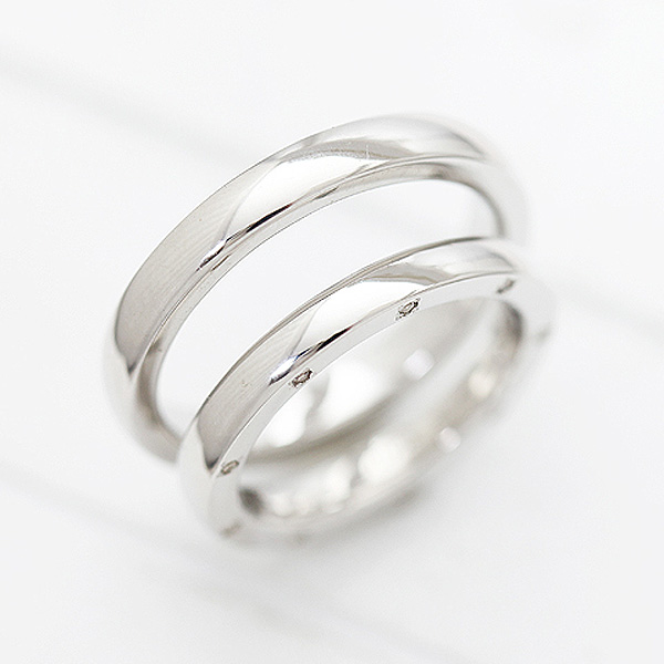 【SALE★30%以上OFF!】 【ポイント優待】 結婚指輪 ペアリング K10WG 甲丸リング シンプル ダイヤモンド 0.10ct ホワイトゴールド マリッジリング サンキュークーポン