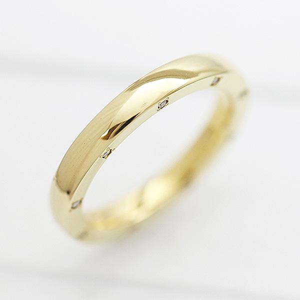 【SALE★30%以上OFF!】 【ポイント優待】 結婚指輪 K18YG ダイヤモンド 0.10ct イエローゴールド マリッジリング レディースリング サンキュークーポン